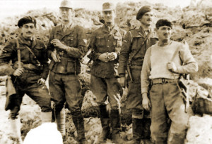 The saboteurs and stars of Natural Born Heroes: (left to right): George Tyrakis, Stanley Moss, Leigh Fermor, Manolis Paterakis and Leonidas Papaleonidas.