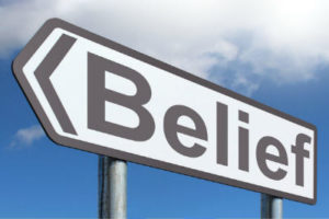 belief road sign